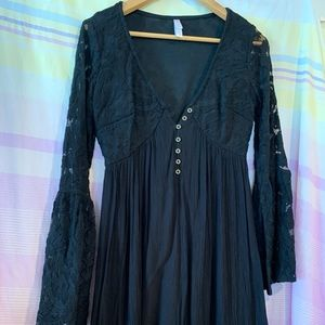 Black Lace Bell Sleeve Mini Dress